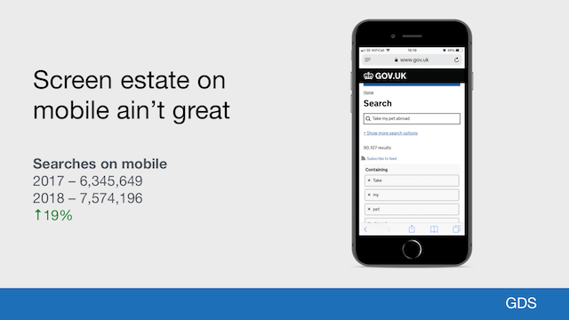 GOV.UK's site search on a mobile phone, showing how search results are below the fold